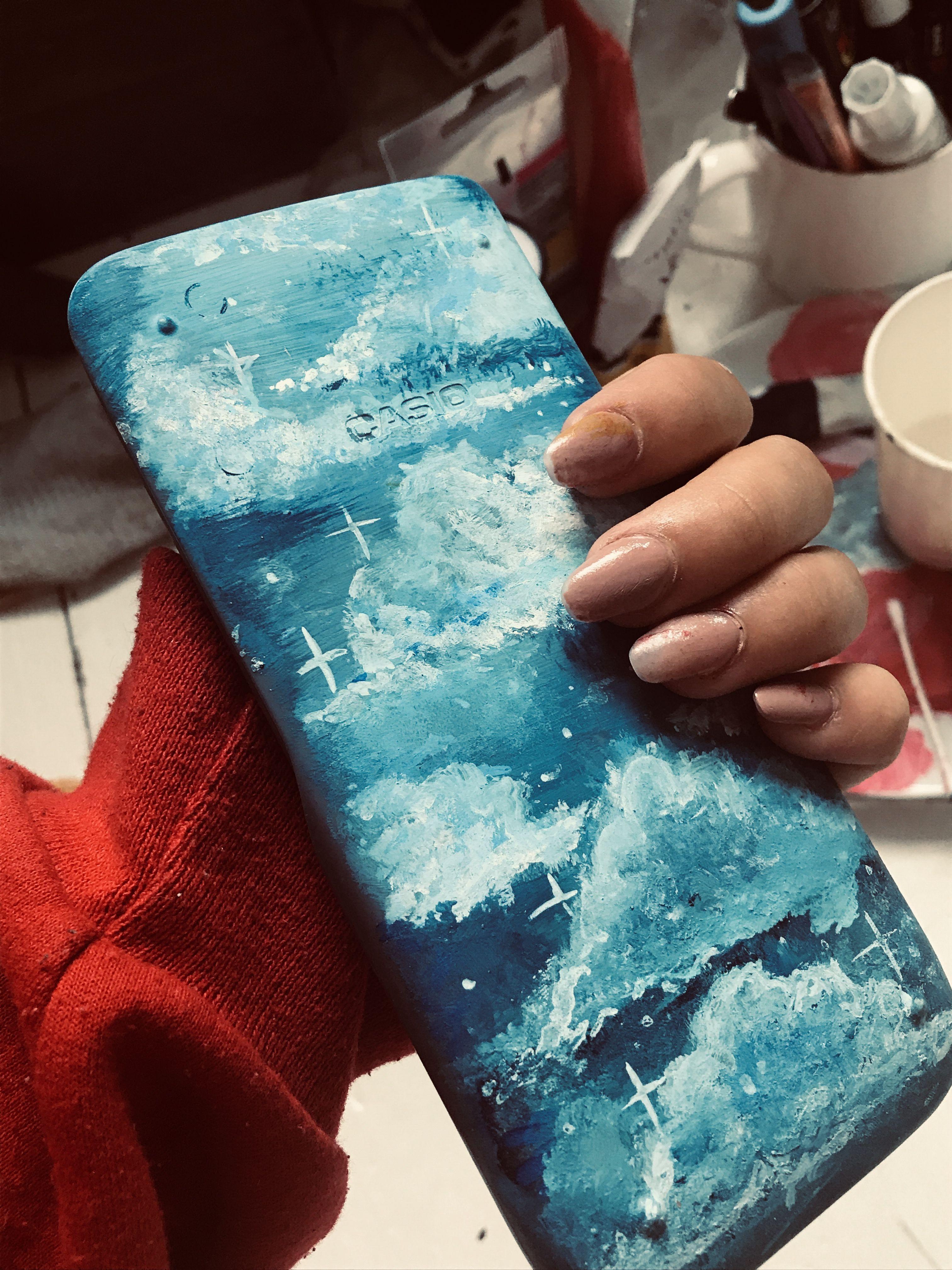 VSCO design blue pastel clouds Calculator makeover � #canvas art vsco Calculator makeover �