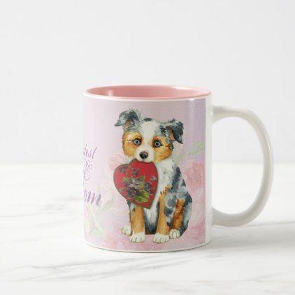 #Mini American Shepherd Heart Mom Two-Tone Coffee Mug - #australian #shepherd #puppy #shepherds #dog #dogs #pet #pets #cute #australianshepherd