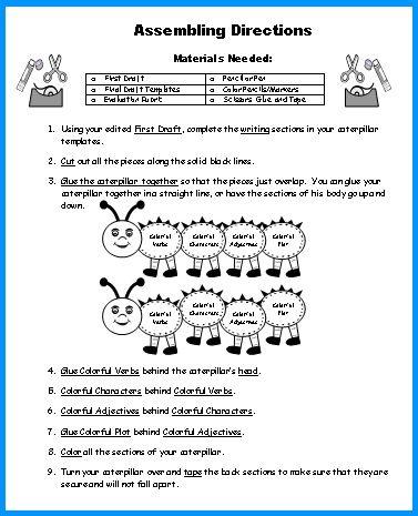Caterpillar Book Report Project templates, worksheets, grading - book report sample