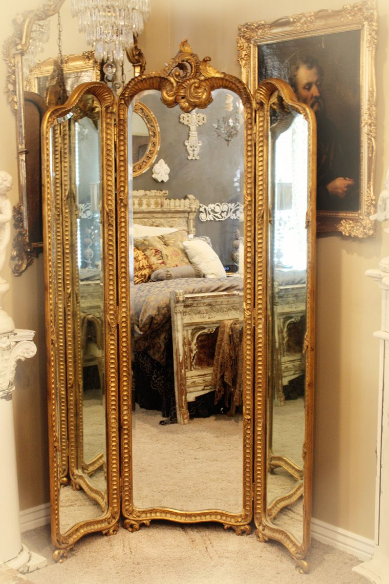 Antique Hand Carved Gilt Three Panel Mirror Shabby