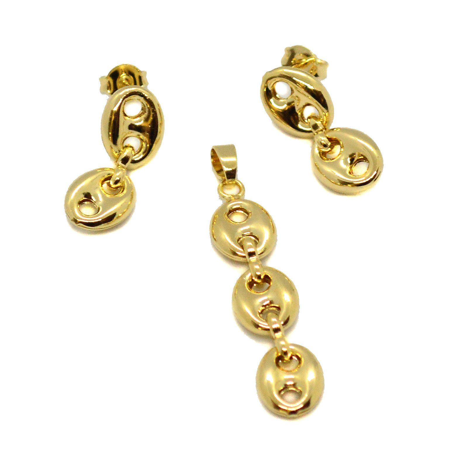H gold filled puff marine earring and pendant set in