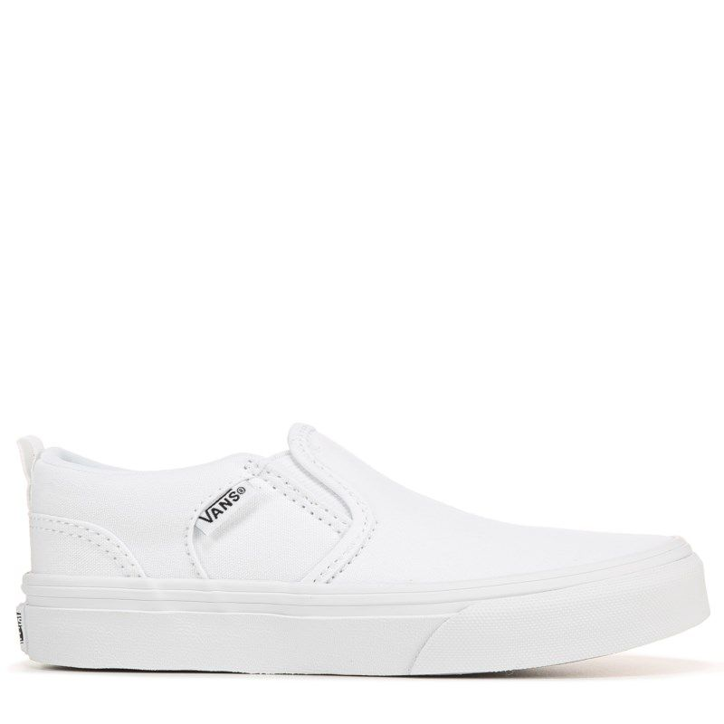 white slip on vans grade school