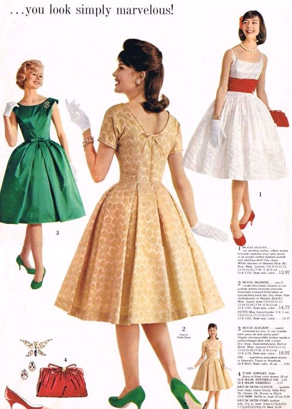 1962 Vintage Fashion Style Color Photo Print Ad Models Magazine Cocktail Party Dress Full Skirt Green White Gold Yellow Tan Shoes Hair Purse Red 60s