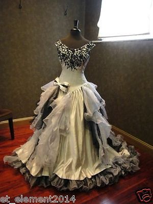 Organza Black and White Plus Size Bridal Gowns Ball Gown Gothic Wedding Dress