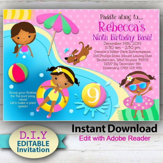 EDITABLE Pool Party Invitation, Cute Invite African American  Brown - birthday invitation swimming party