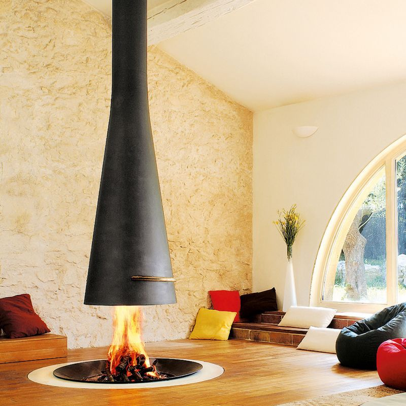 FilioFocus indoor firepit with suspended hood Fireplaces