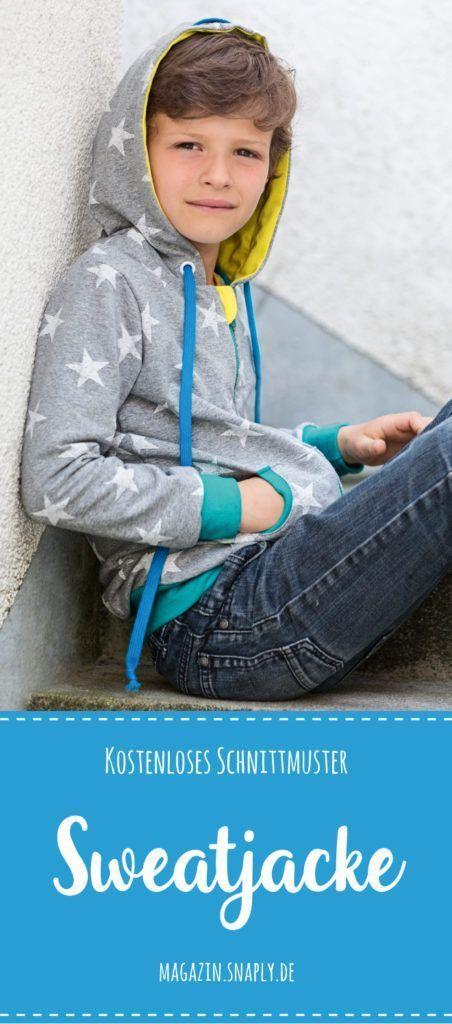 Kostenloses Schnittmuster: Sweatjacke für Kinder | Nähkurs machen ...