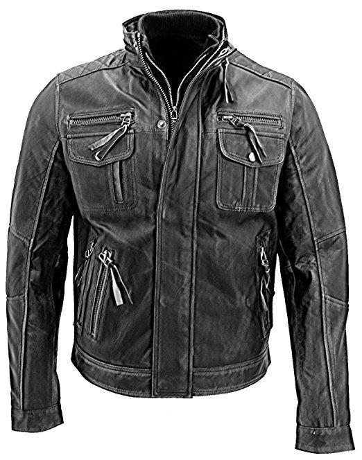 Vintage,Herren Lederjacke,Motorrad Jacke,Chopper Große XL Retro Jacke