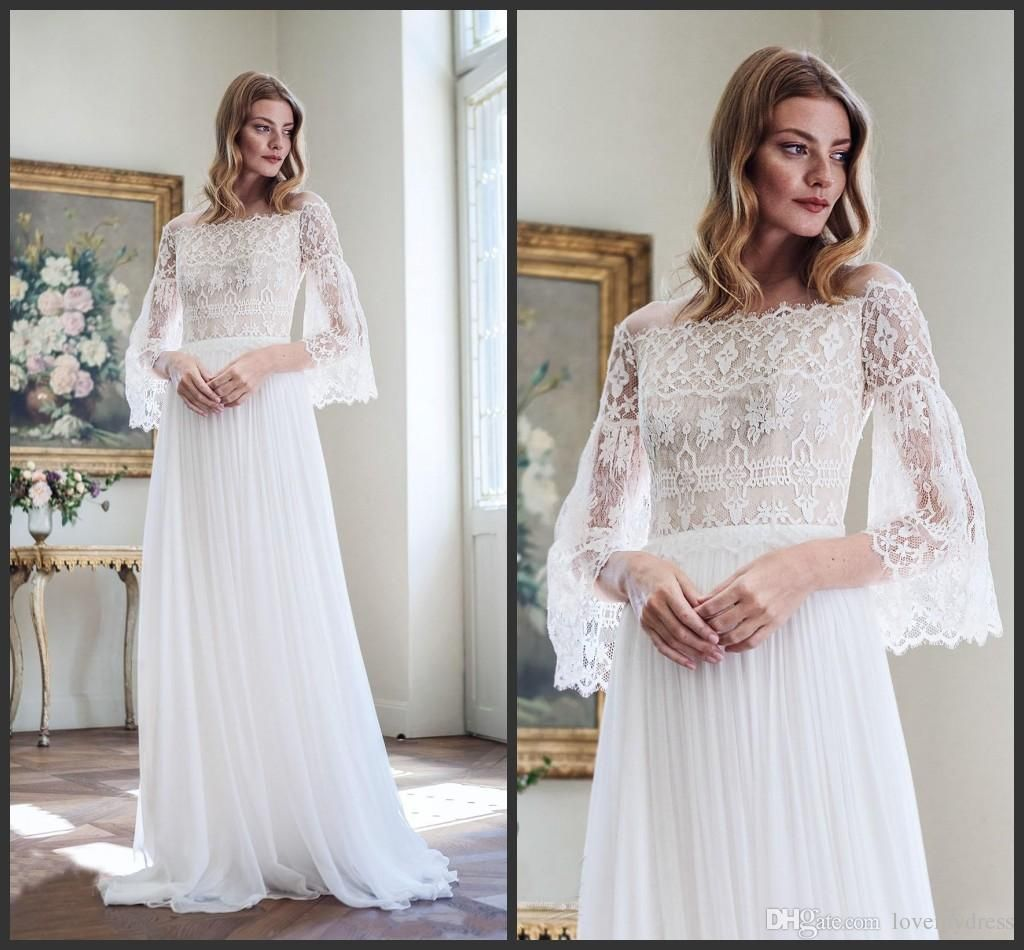 Lace dress cheap price bridal gown off shoulder neck long sleeve
