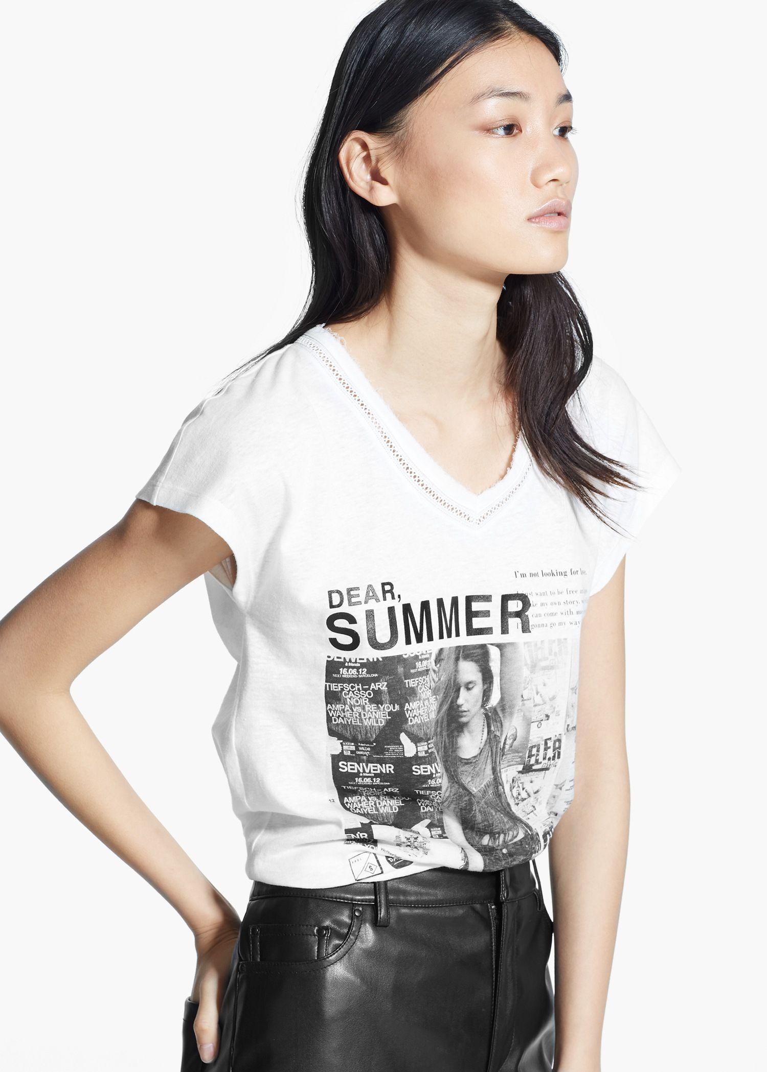 949b062025d42 Camiseta estampada ribetes - Mujer