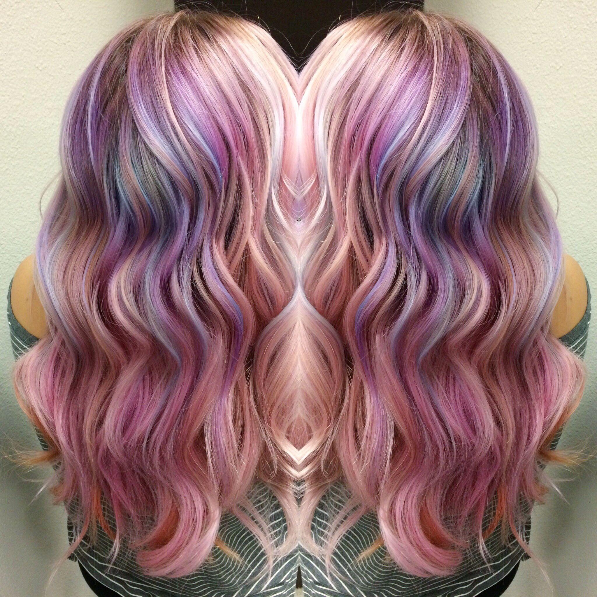 Hair style hair color rainbow hair mermaid hair whimsicalbrandi