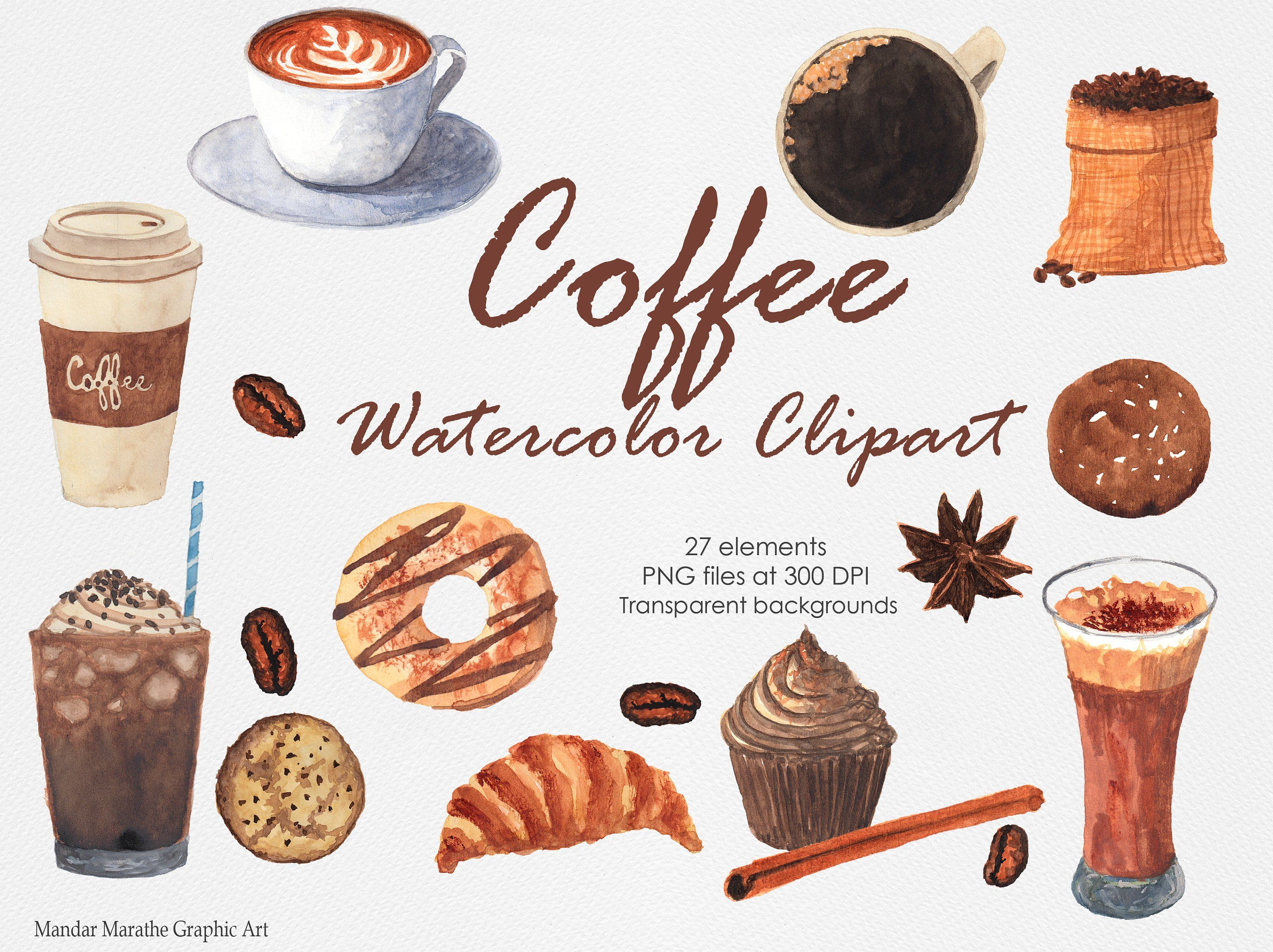 Watercolor Coffee Clipart Shop Cafe Cookies Coffee Beans Etsy Coffee Clipart Clip Art Coffee Watercolor