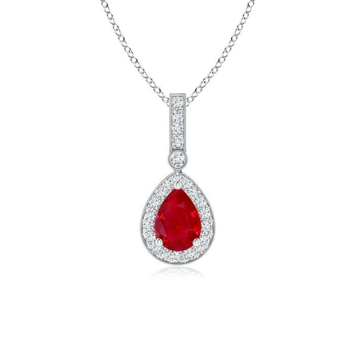 Angara Milgrain-Edged Oval Ruby and Diamond Halo Pendant CRLIg8zb