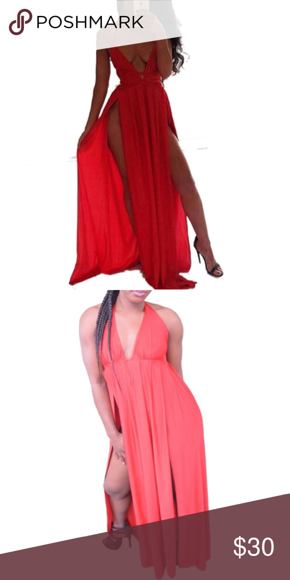 647b0b8e4f4ed Red Maxi Dress V-Neck Halter Maxi Dress 2 slits on the sides Material