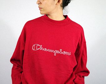 Vintage 90s CHAMPION Red Sweater Sweat shirt Sweatshirt Jumper ...