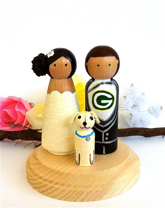 Sport Wedding Cake Toppers with 1 Pet Sports Team Themed Bride Groom ...