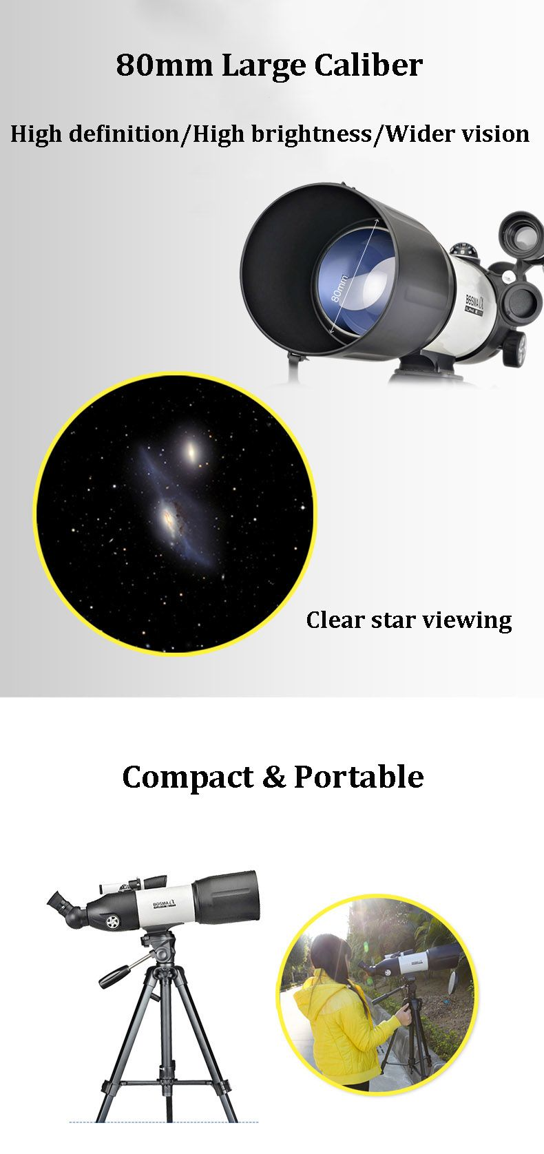 BOSMA 80/400 HD Astronomical Telescope Portable Starry Sky Viewing Monocular With Tripod