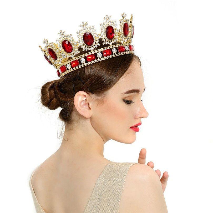 Hairstyles With Crown Queen: Rhinestone Tiara Wedding Crowns Queen/King Head Crown Gold