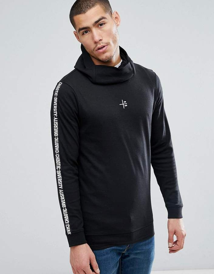 8297b81448b6d9 Jack and Jones Core Longline Hoodie With Streetwear Arm Print ...