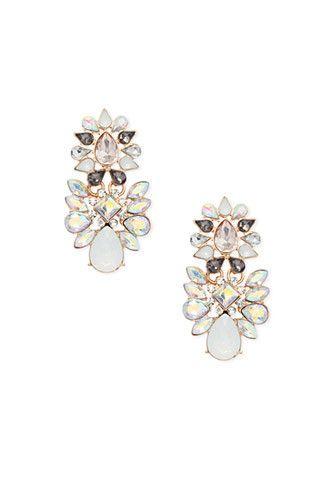 Rhinestone Petal Chandelier Earrings Forever 21 1000164801