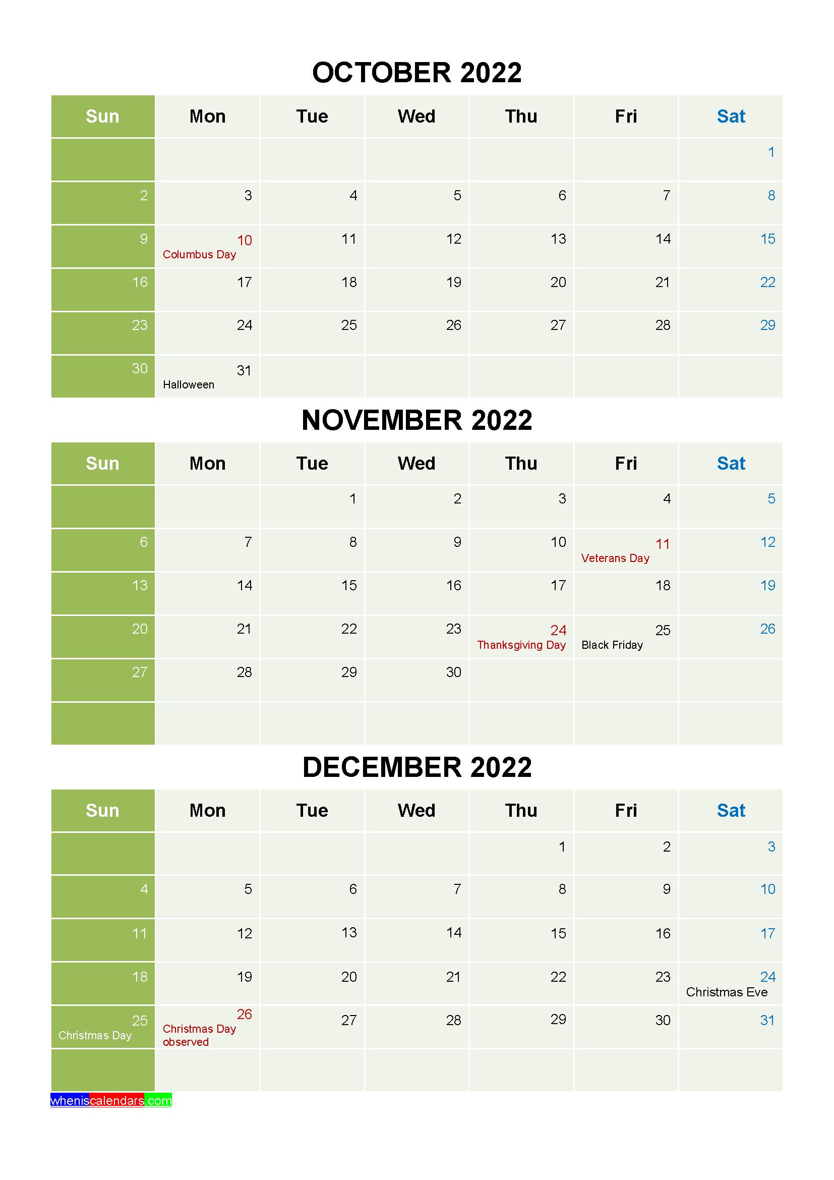 Lunar Calendar October 2022.Free Calendar October November December 2022 With Holidays Four Quarters Calendar Template Free Printable Calendar Calendar Printables