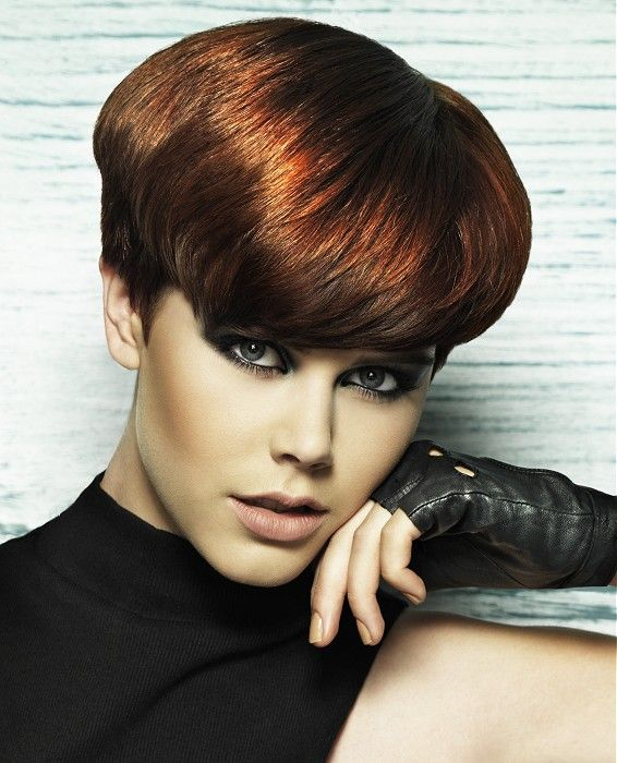 Short Brown straight coloured womens haircut hairstyles ...