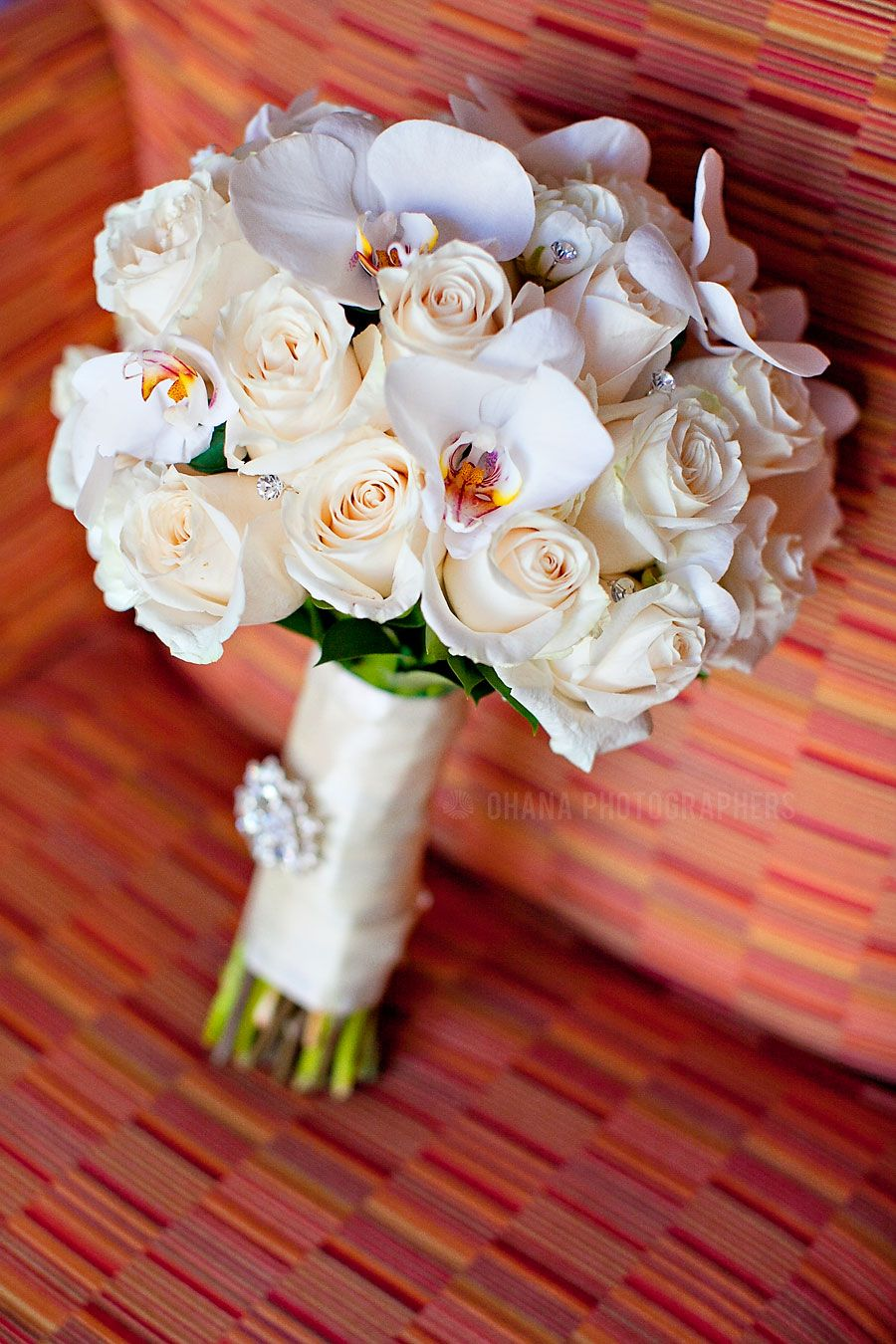 Cream Rose And White Orchid Wedding Bouquet Pandora On Green