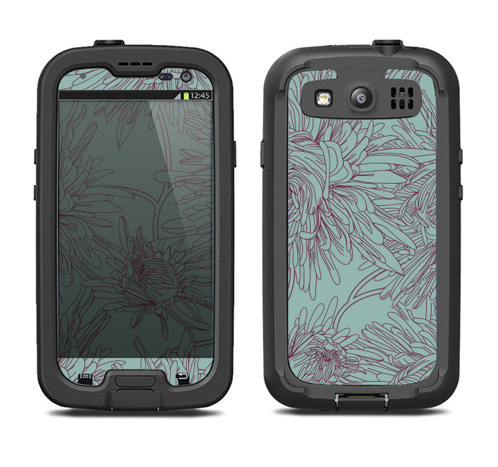 The Teal Aster Flower Lined Samsung Galaxy S3 LifeProof Fre Case Skin Set