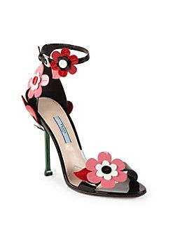 Clothes · Prada - Floral-Embroidered Patent Leather Ankle-Strap Sandals