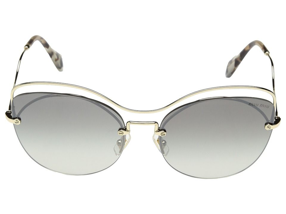 fe896055b424 Miu Miu 0MU 50TS Fashion Sunglasses Pale Gold Grey Gradient Mirror Silver