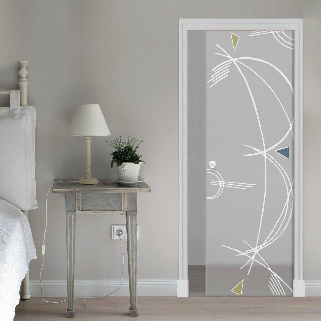 Eclisse 10mm D.B. Murano Design on Clear or Satin Glass Pocket Door.  #muranodesignglassdoor #slidingglassdoor #modernpocketglassdoor