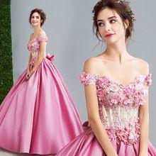 dc5895825 Rosa Vestidos de Quinceañera Durante 15 Años de Largo 3D Flores de Perlas  sweet 16 vestidos de bola del corsé del partido vestidos vestido de  Debutantes