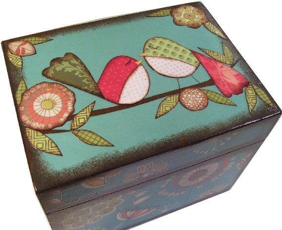 Decorative Recipe Box Recipe Box Decoupaged Wood Box Decorative Owl Box Holds 3X5