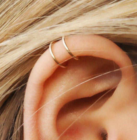 510f33f7a9f6b Set of 2 Ear Cuffs, Ear Cuff, No Piercing,Earcuff, Double Line Cuff ...