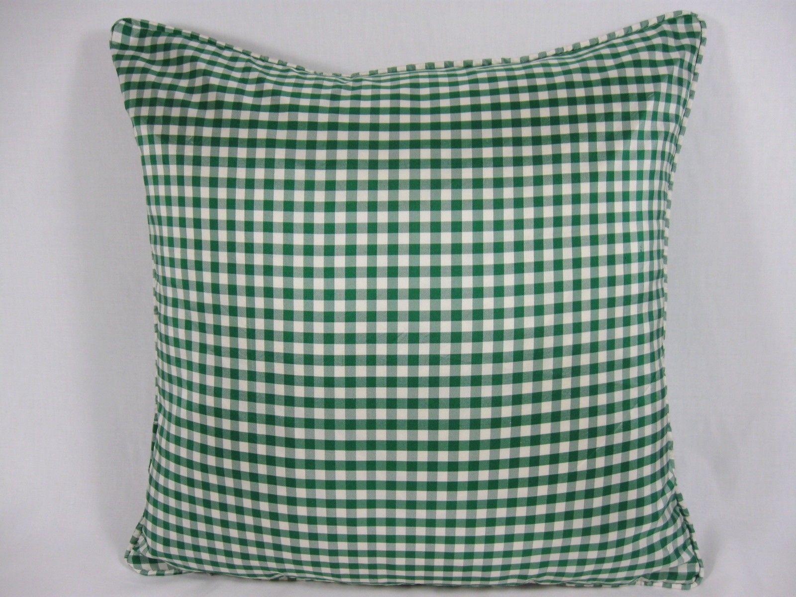 Green Silk Taffeta Gingham Cushions