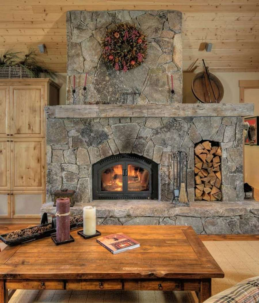 Majestic Granite Rock Fireplace With 100 Year Old Hand Hewn Barn