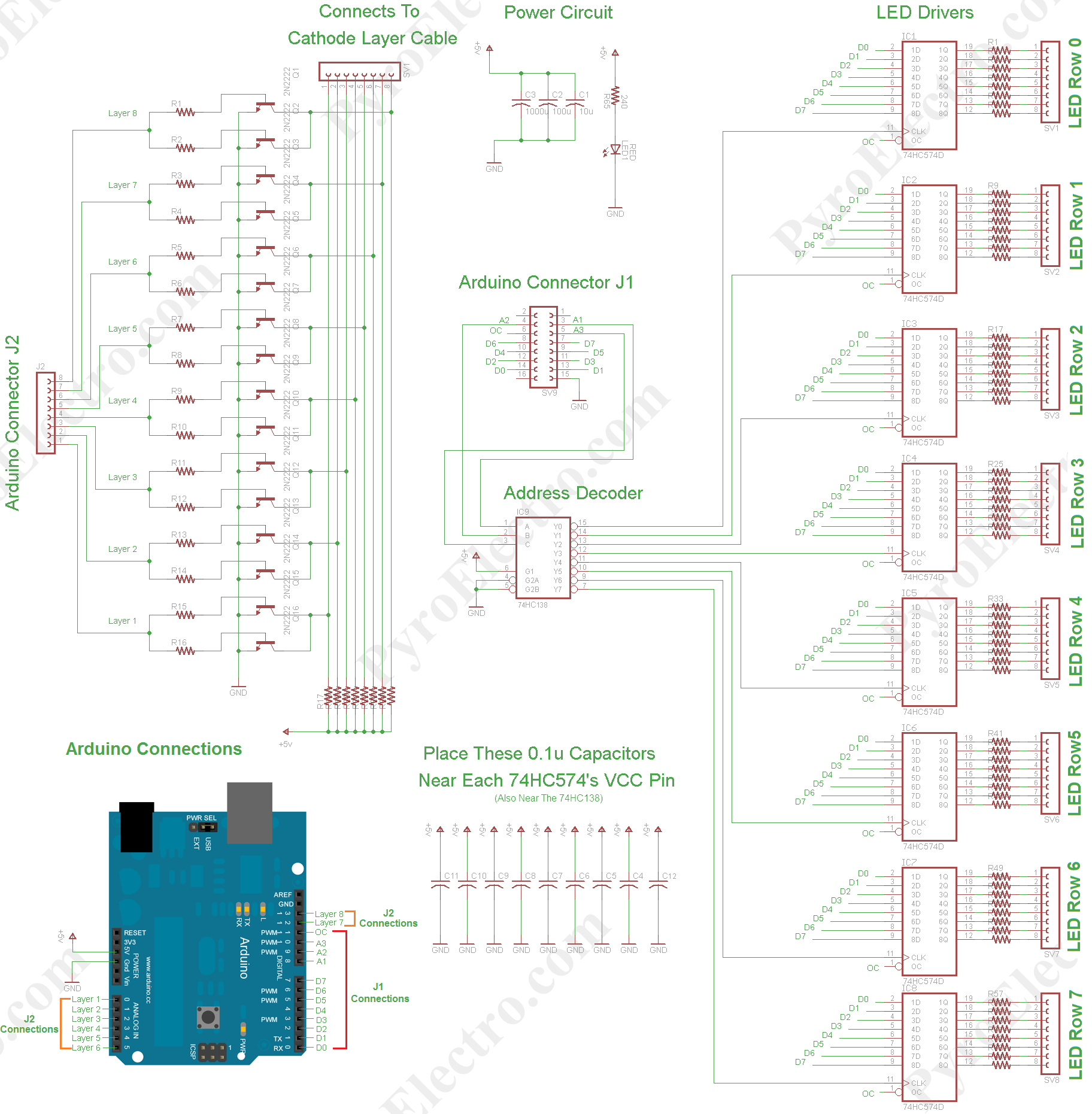 8x8x8 led cube schematic arduino in 2019 led cube arduino circuit diagram of 8x8x8 rgb led cube [ 1824 x 1861 Pixel ]
