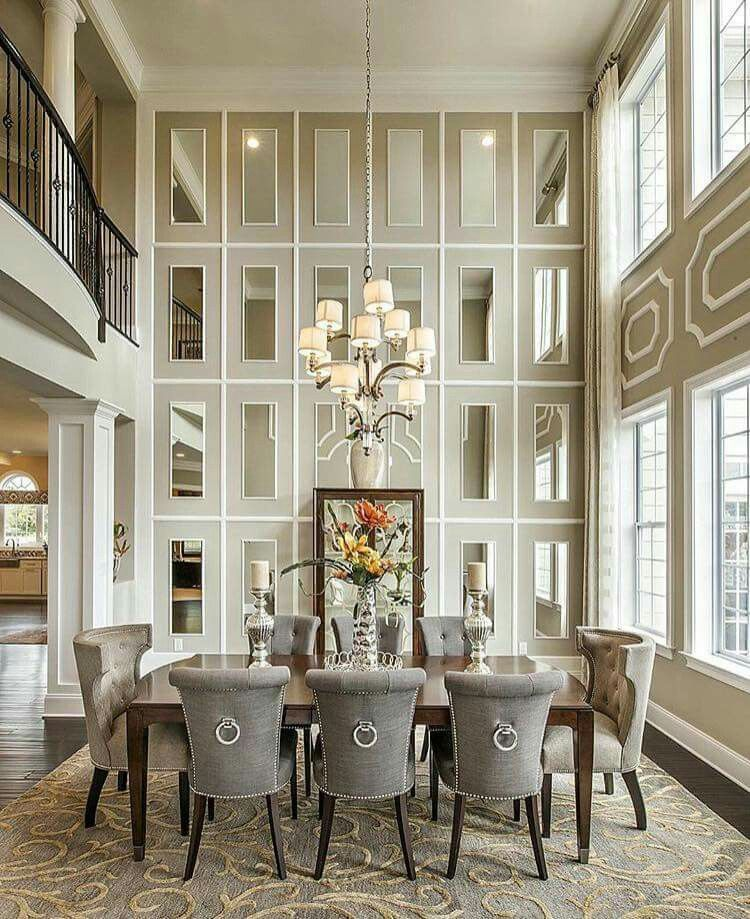 2 Story Mirror Grid Beautiful Luxury Dining Room Dining Room Design Luxury Dining