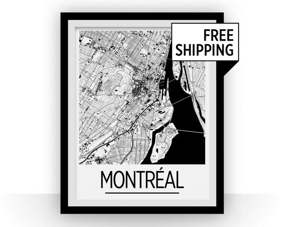 Montreal map poster canada map print art deco series