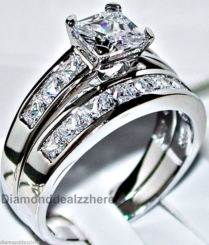 04cdf4da6 Pure Real Genuine Sterling Silver Princess cut Lab Created Diamond  Engagement Ring Wedding Set Women's size 5,6,7,8,9,10,11 <3 $124.99