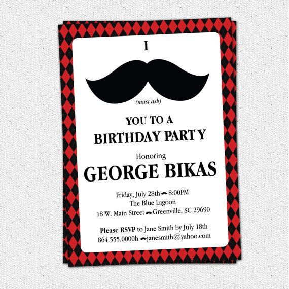 Printable Mustache Argyle Birthday Party Bash Invitation, Manly 30th 40th 50th 60th Man's Men's, DIY Digital File