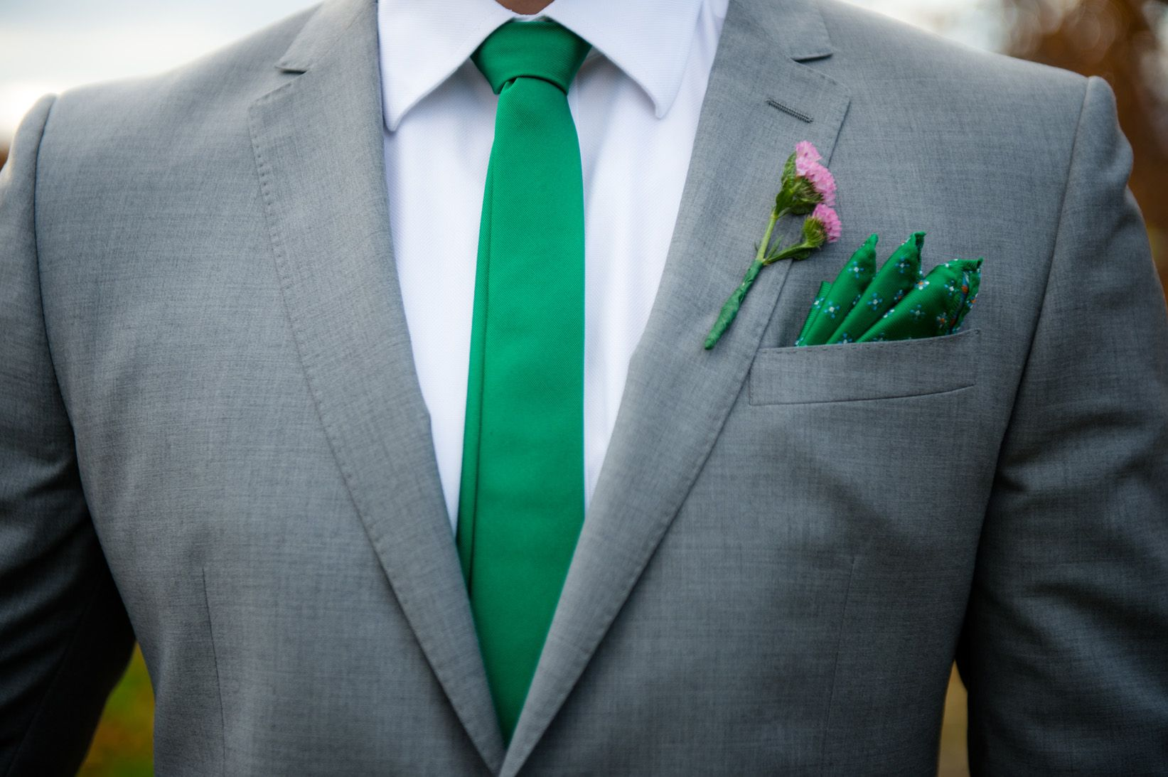 Gray Suit With Green Tie And Pocket Square