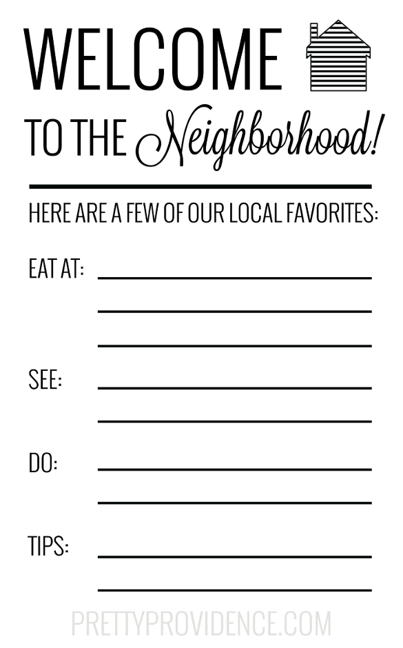 picture relating to Welcome to the Neighborhood Printable named Fresh new Neighbor Welcome Reward Basket Contemporary Neighbors! Welcome