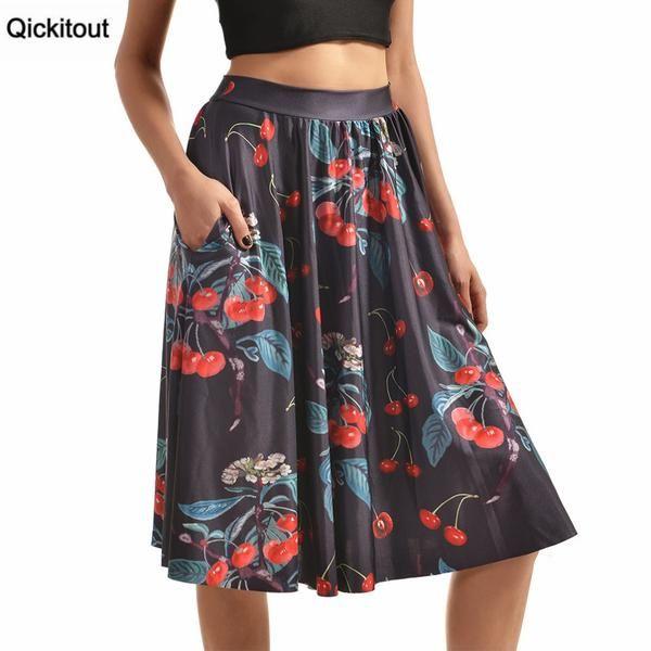 Pocket Skirts New Women's Fresh Fruits&Cherries 3D Digital Print Pocket Skirts High Waist