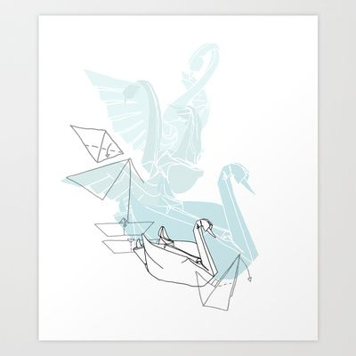 Swan Art Print by Lucy Selina Hall - $18.00