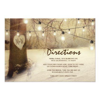 Rustic Winter Xmas Tree Lights Wedding Directions Card