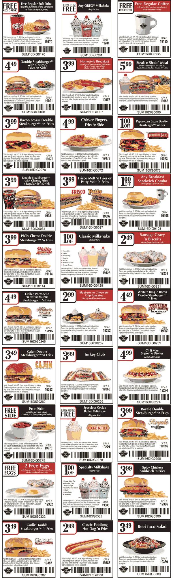 Various Meal Coupons For Steak N Shake Restaurants Steak N Shake Coupons Shakes Coupon Apps