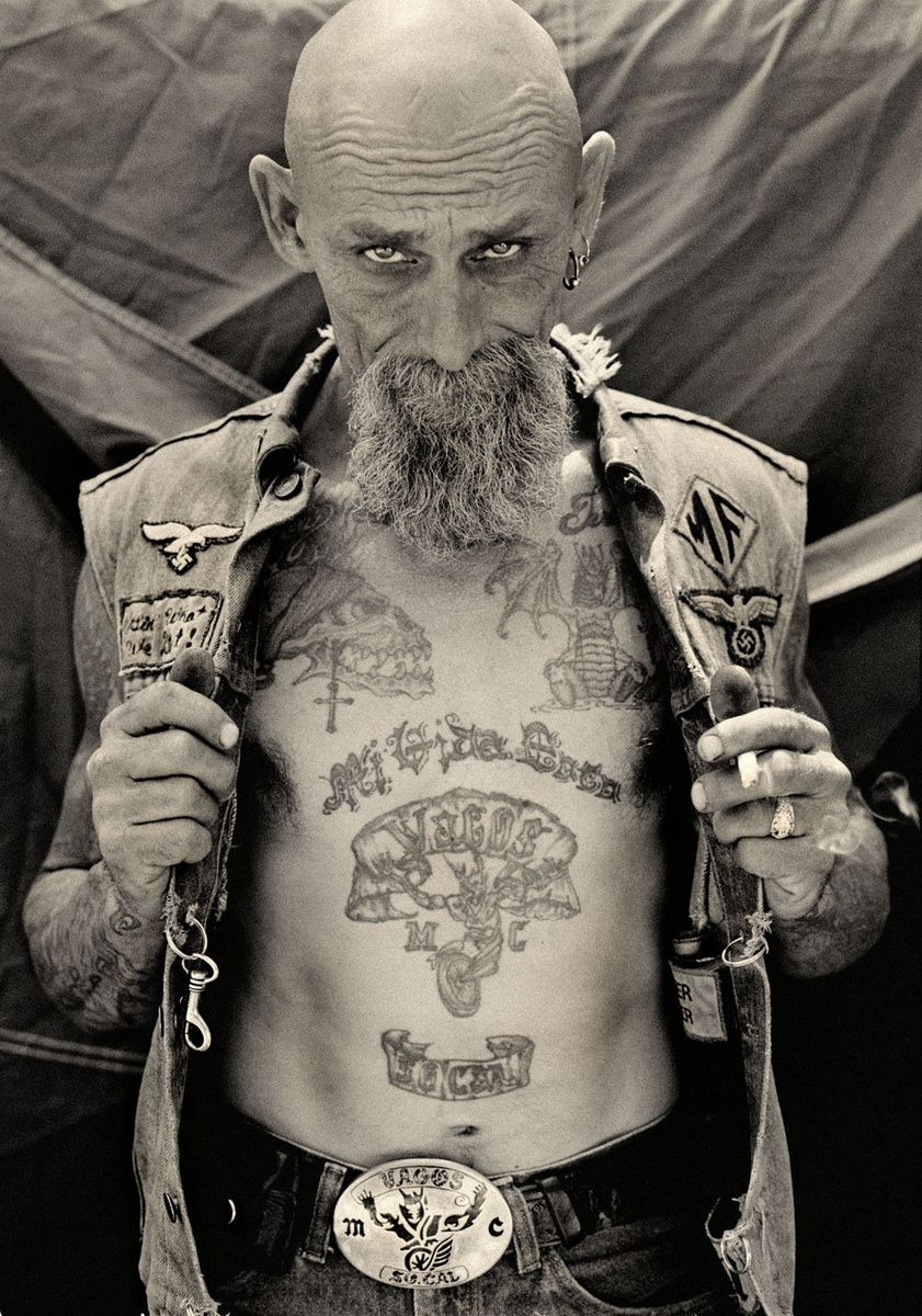 Motorcycle with biker tattoo - Michael Muller Biker Beard Black And White
