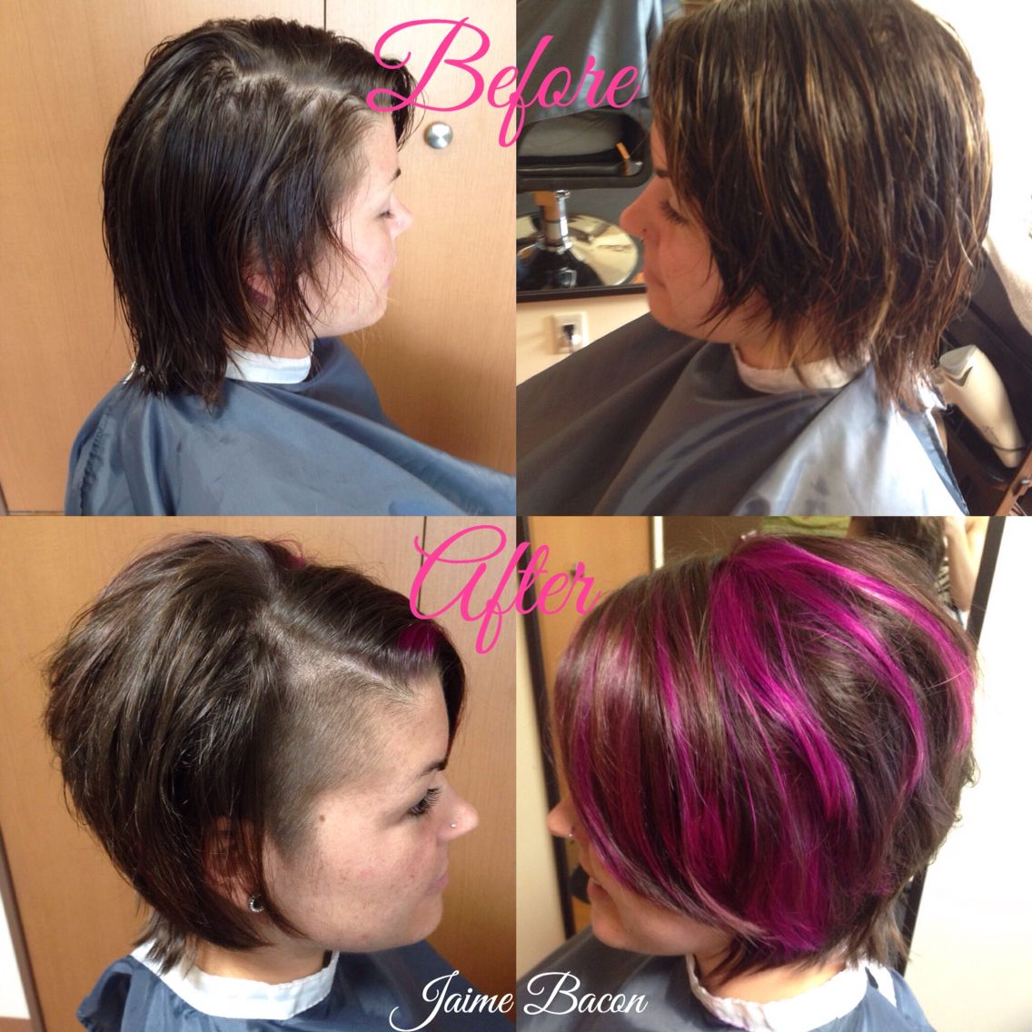 Men haircut back view pravana magenta and violet before and after haircut and undercut