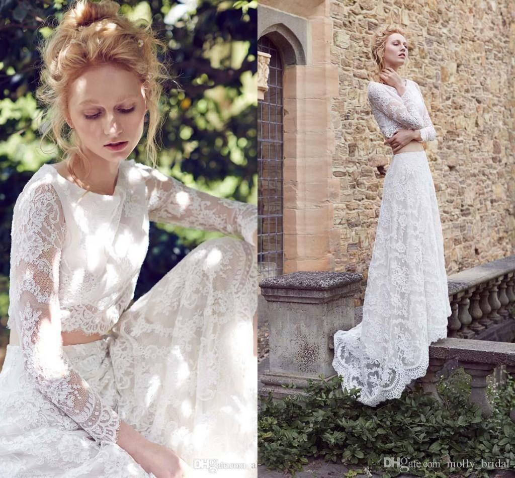 Romantic two piece wedding dresses lace illusion long sleeve